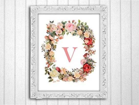 Wall Decor Letter V : Monogram wall art letter v vintage by