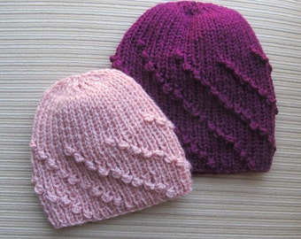 Knitting Pattern #137 Hat in Diagonal Bobble Rib in Sizes 9-12 Months and Adult
