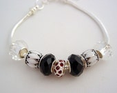 Charm Bracelet European Style Garnet Black Crystal Beads