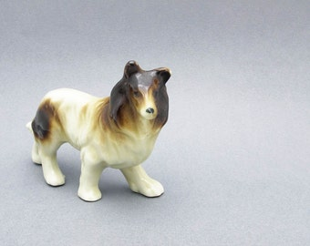 Vintage Collie Porcelain Figurine Beige Brown Dog Japan
