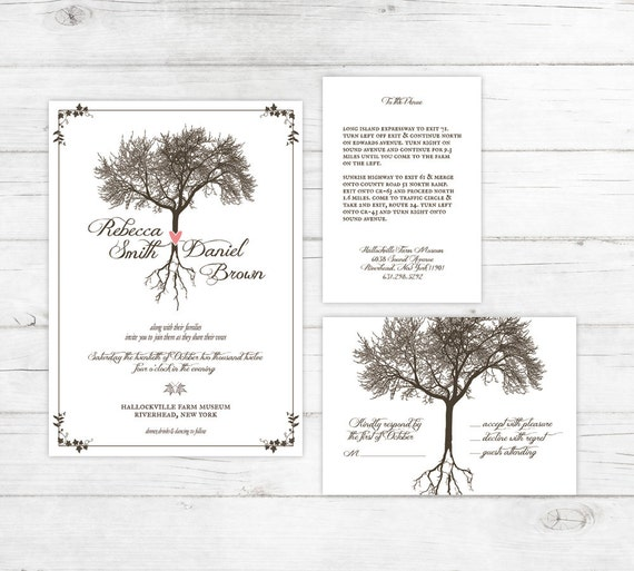 Earthy Wedding Invitations: Earthy Roots Rustic Wedding Invitation Suite