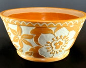 Handmade PotteryBowl, Stoneware, Tan Floral Design  Hand Carved, Sgraffito Technique. SKU149-6