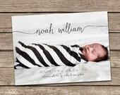 Birth Announcement : Noah Baby Boy Script Custom Photo Birth Announcement