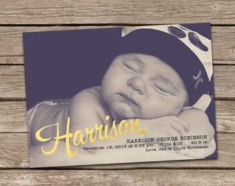 Birth Announcement : Harrison Gold Foil Faux Effect Baby Boy Custom Photo Announcement, Baby Boy Announcement, Baby Announcement,