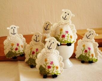 Crochet Egg Cozy, Sheep Egg Cozy, Egg warmers- Set of 2