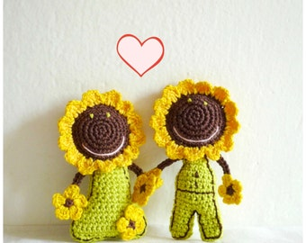 Sunflower Doll - Wedding Gift for Couple - Sunflower Ornament - Flower Doll Ornament - Crochet Doll -  Housewarming Gift - Gift for Farmers