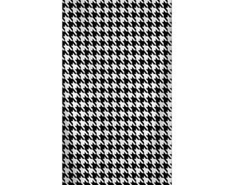 Custom Personalized Beach Towel -  Preppy Black & White Houndstooth Pattern  - Color and Personalization of your choice