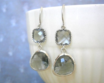Clearance Sale, Grey Earrings, Silver Earrings, Gray Earrings, Bridesmaid Earrings, Best Friend Birthday, Mother Gift