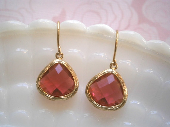 Ruby Earrings,  Fuchsia Earrings, Gold Earrings, Wife Gift, Sister Gift, Amaranth Earrings