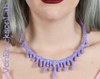 Purple Candy Drip Necklace  -Low Hanging - Creepy Cute Lilac Candy Drip Kawaii Pastel goth