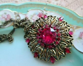 Vintage Victorian Style  Pendant Necklace Hot Pink Rhinestone Flower Brass