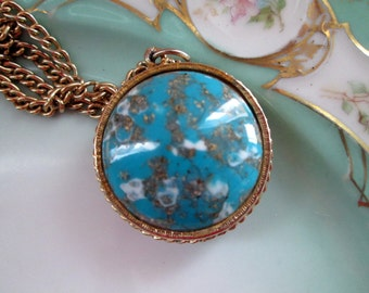 Vintage confetti glass Ball pendant Turquoise and Copper Brown Reversible