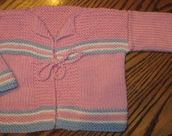 Hand Knit Baby Sweater Size 3 Mths Cardigan Pink With Blue Winter White Cotton Wool Very Soft Free US Shipping
