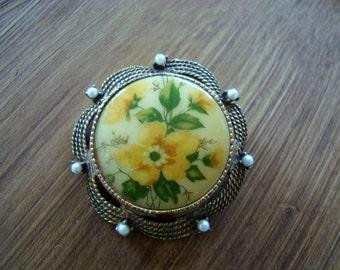 Vintage Porcelain Floral & Pearls Brooch Converts to Pendant
