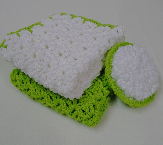 Dish Cloths and Veggie Scrubber - Country Kitchen Set 3 Piece - Brite Lime and White - Handmade Crocheted - Cotton Yarn - eco friendly