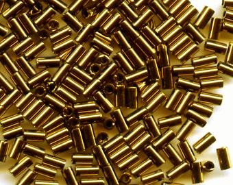 10g. Metallic Bronze Japanese (Toho) Glass 3mm Bugle Beads, No. TB-01-221