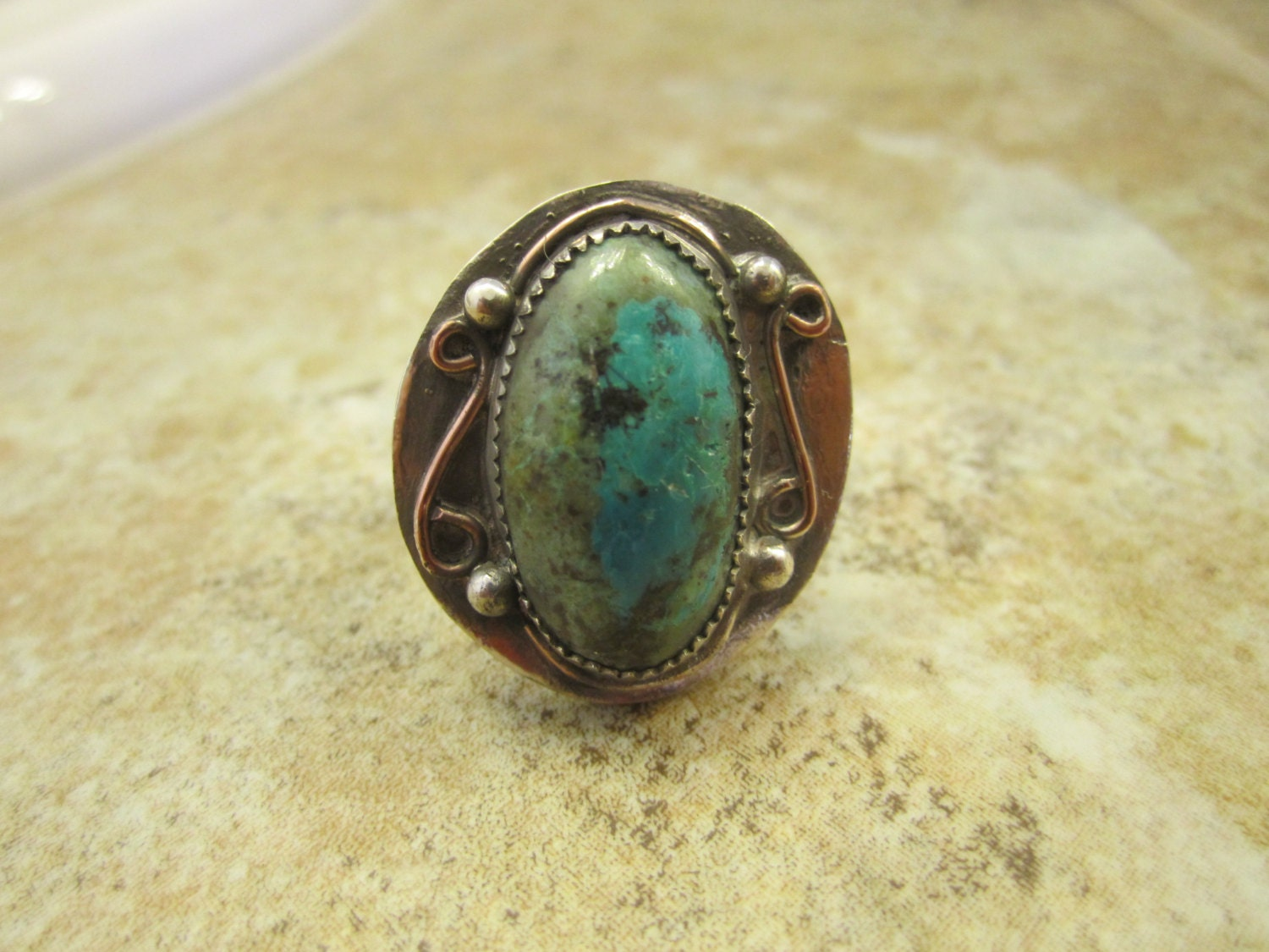 western sterling silver turquoise ring size 7 1 2 free