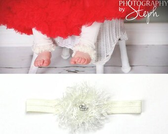 Off White Baby Leg Warmers Headband Set