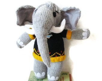 Stuffed Elephant- Custom Knitted -Boy Elephant- Plush Animal Toy Original/Custom Made
