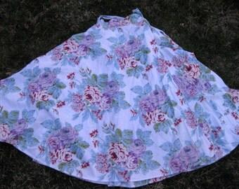 80s COTTON MAXI SKIRT, Long full skirt in roses rose print 1980s 80s skirt
