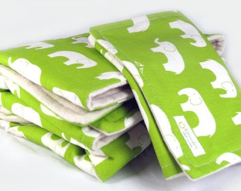 Organic Baby Blanket and Matching Burp Cloth -  Apple Green Elephant