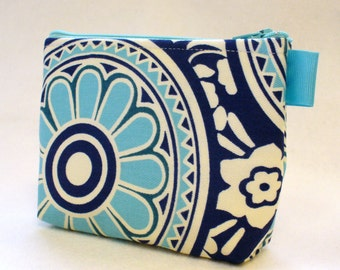 Bridesmaid Gift Suzani Fabric Cosmetic Bag Zipper Pouch Makeup Bag Gadget Pouch Navy Blue Turquoise  MTO