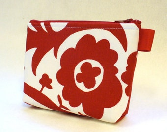 Red White Suzani Fabric Makeup Bag Cosmetic Bag Zipper Pouch Makeup Bag Gadget Pouch Zip Pouch MTO