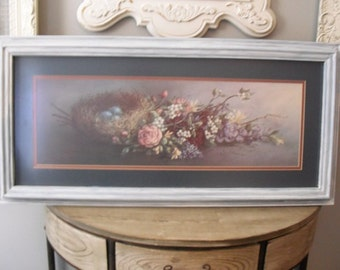 gorgeous Vintage blue Bird Eggs Nest and roses Print With Hand painted Gesso frame