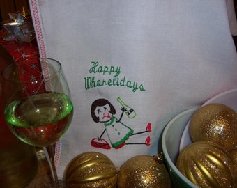 Happy Whorelidays Dish Towel