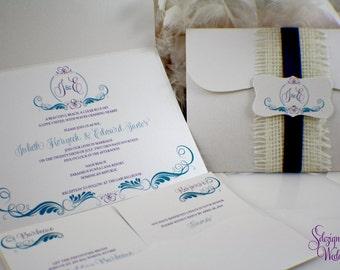 Burlap Destination Wedding Invitation v2.0