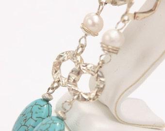 Turquoise Pearls Leverback Earrings, dangle earrings, silver earrings, ecofriendly jewelry, boho earrings