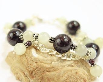 Garnet Moonstone Beaded Bracelet Sterling Silver Chain Bracelet