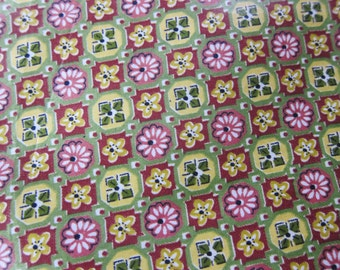 Vintage glazed cotton 1940s , Waverly fabric, vintage decor, vintage dressmaking, 40s  fabric, swing time fashion,  36 wide
