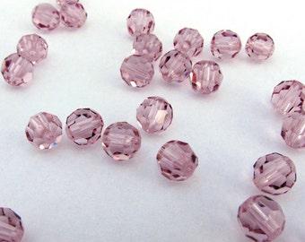 6mm Light Amethyst Swarovski Round Crystal Beads - 24