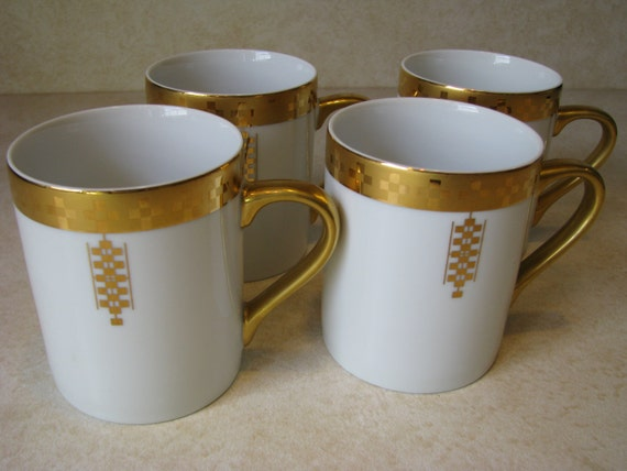 4 Tiffany And Co Imperial Frank Lloyd Wright Gold Coffee Cups