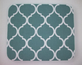 Mouse Pad mousepad / Mat - Rectangle or round - Trellis in spa greenish blue