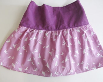Girl's Skirt - Purple and Lavender with Bird design -   Skirt for Baby, Toddler and Youth Child - Quality Handmade Clothing