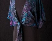 Silk Shrug Jacket, Hand Dyed Hand Painted, Peacock
