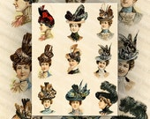 Victorian Ladies in Hats, Color Illustrations Fine Millinery Hats, Digital Collage Sheet Large Images Instant Printable Download