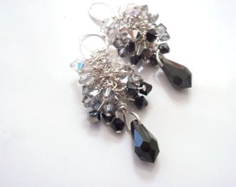 Dressy Earrings Sparkly Crystal Dangles Silver and Black to Clear Gradation