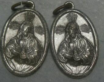 2 Vintage Sacred Heart of Jesus signed VIRGO CARMEL Religious Medals signed Italy catholic jewelry pendant