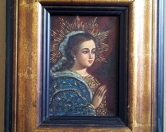 Antique MADONNA Virgin Mary ICON Holy Mother Rennaissance Oil Painting