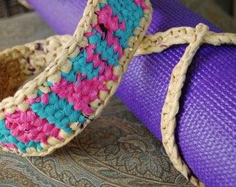 Yoga Mat Strap, (dance bag pink and teal with tan)