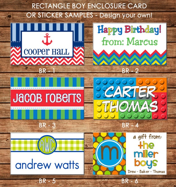 Boys Premium Name Labels: 20 Printed Boy Rectangle Gift Tags Enclosure Cards Stickers