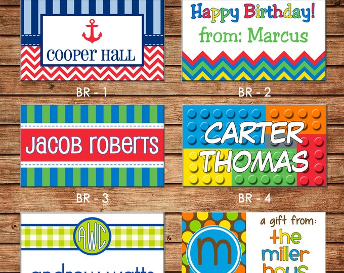 20 Rectangle Personalized Boy Enclosure Cards or Gift Stickers - Choose ONE DESIGN