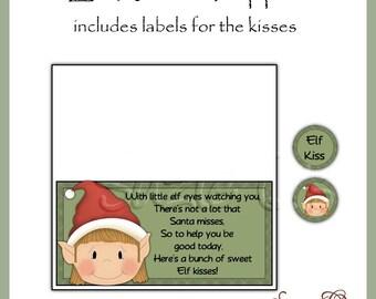 Elf Kisses Topper and kiss labels - Digital Printable - Immediate Download