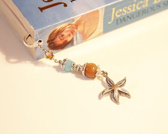 starfish bookmark, beaded metal bookmark, wanderlust, travel, boho, hippie, indie, dreams, sand, holidays, beach, snorkeling