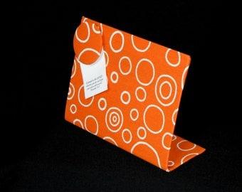 "Desk Accessory, Magnet Board, Fabric Magnet Board, Kitchen Decor, Recipe Holder, Freestanding Desktop,  (8"" x 6""), Orange Oxygen Fabric"