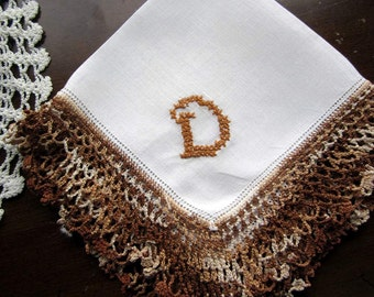 """Hand Embroidered """"D"""" Monogram on Vtg White linen Hanky/Handkerchief with Brown Crocheted Lace  Mint Condition"""