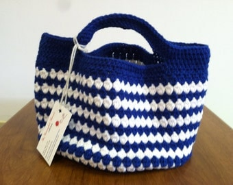 Crochet purse UK blue and white
